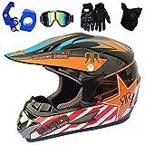 YASE Casco de Motocross Adulto Naranja Negro Cascos de Moto Enduro Motocross Accesorios con Gafas Guantes Mascarilla Set para Hombre Mujer Motocicleta Bicicleta de Montaña Motorbike ATV MTB,M