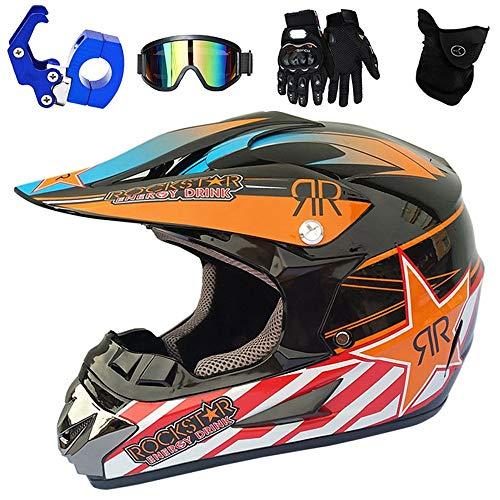 YASE Casco de Motocross Adulto Naranja Negro Cascos de Moto Enduro Motocross...
