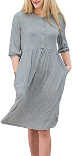 fb9e58c7070a YOMISOY Womens 3/4 Sleeve Dress Casual Button Down Pleated Loose Tunic  Summer Flowy Midi