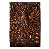 A5 World Traveler Style Leather Embossed Bird Journal Diary Notebook Phoenix Gift Retro Antique Handmade Daily Notepad Sketchbook Copper