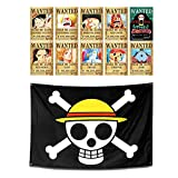 Pirates Wanted Posters Set of 10pcs Home decor + Jolly Roger Pirate Banner Flag Wall Art Hanging
