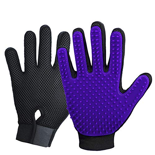Enhance Deshedding Pet Grooming Glove with 255 Tips for Dog and Cat, Left & Right Glove Brush