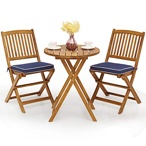 Giantex 3Pcs Patio Bistro Set, Wood Folding Table Set, 2 Cushioned Chairs for Garden Yard, Outdoor Furniture Round Table (Natural & Navy Blue)