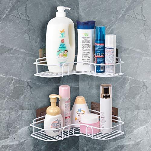 QIWODE Estantes organizadores de ducha de baño 2 niveles Estante de almacenamiento de carrito de ducha de esquina para accesorios de cocina y baño - Recubierto de plástico avanzado antioxidante