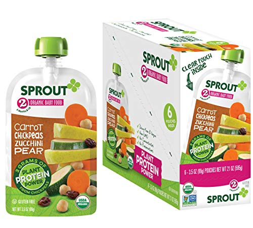 Sprout Organic Baby Food, Stage 2 Pouches, Carrot & Chickpea Plant Powered Protein, 3.5 Oz Purees (Pack of 12)