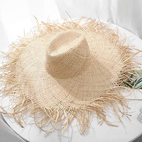 TSP Sombrero de rafia de ala ancha grande para el sol para mujer, con lazo negro y paja, sombrero de playa para vacaciones al aire libre, sombrero de sol para mujer (color: azul cielo)