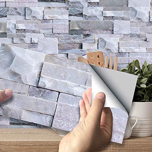 Hiser Adhesivos Decorativos para Azulejos Pegatinas para Baldosas del Baño/Cocina Estilo de Azulejos de Pared 3D Resistente al Agua Pegatina de Pared (Ladrillo de Piedra Gris Claro,54 Piezas)