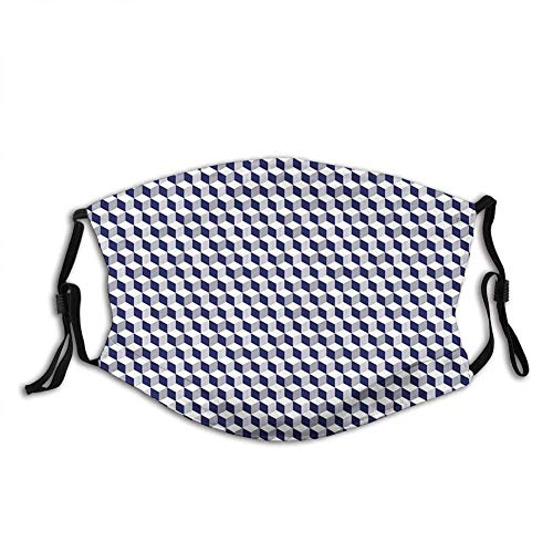 Abstract Cube Shape Striped Geometric Three Dimension Patter Mask Unisex Anti-Dust Face Cover Outdoor Sports cycling Mouth Shield Reusable Washable Christmas gi-ft