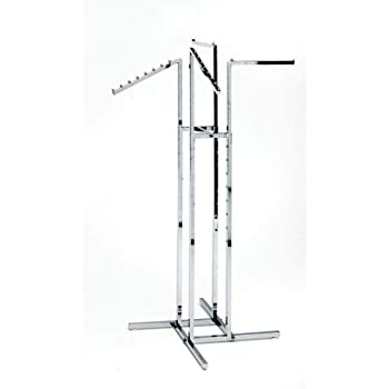 Clothing Rack – Heavy Duty Chrome 4 Way Rack, Adjustable Arms, Square Tubing, Perfect for Clothing Store Display With 2 Straight Arms and 2 Slanted Arms, Takes Up Only 32 Inches of Floor Space