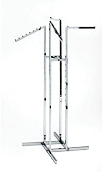 Clothing Rack – Heavy Duty Chrome 4 Way Rack, Adjustable Arms, Square Tubing, Perfect for Clothing Store Display With...