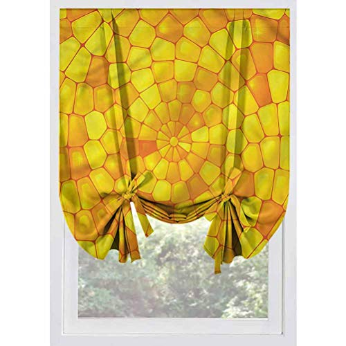 LCGGDB Yellow Blackout Small Window Curtain,Abstract Corn Pattern Thermal Insulated Tie Up Curtains Rod Pocket Short Curtains for Small Windows, Doors, French Doors, Kitchen Windows,39'x63'