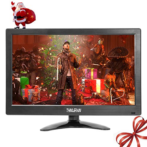 13.3 inch LED Small PC Monitor 1366 x 768 HD Small HDMI Monitor TV Monitor Screen with VGA/HDMI/Speaker for Raspberry Pi, Computer, Home Security CCTV with Speakers