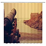 Lileihao Rusty Cannon Shower Curtains Coast Defense Creative Bathroom Decor Background Waterproof Polyester Fabric Home Bathroom Accessories Shower Curtain Set Non-Peva 69 x 70 inch with Hooks