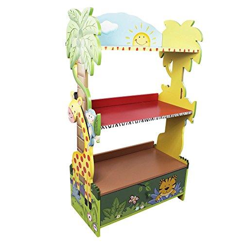 Fantasy Fields Bibliothèque Enfant Sunny Safari en Bois pour Rangement de Livres Jouets W-8268A