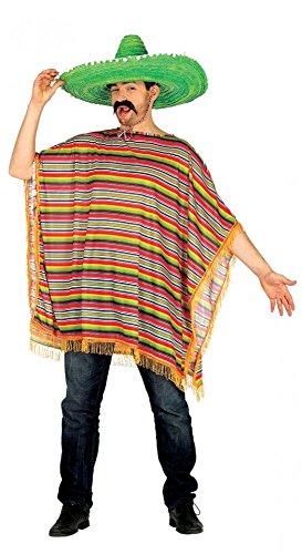 shoperama Bunt Gestreifter Poncho für Mexikaner Herren-Kostüm mexikanisch Damen Umhang Mexikanerin
