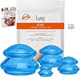 Advanced Cupping Therapy Sets - Edge Flex Silicone Vacuum Suction Cupping Cups for Muscle and Joint Pain Cellulite & More (Brilliant Blue, 4)