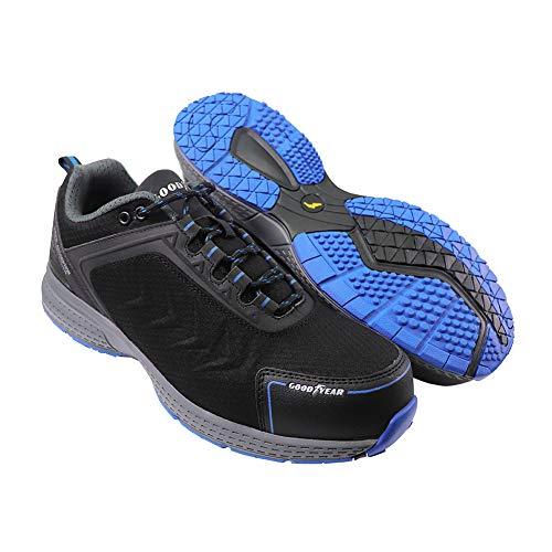 Goodyear Zapato de seguridad para hombre, sin metal, resistente al agua, ligero, compuesto de puntera flexible, entresuela para entrenamiento, S3/SRC/HRO, negro, talla 41-46