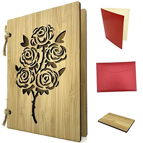Grußkarte aus Holz als Liebeskarte & Dankeskarte - Bambuskarte mit Rosen ca. A6 Format - Set mit Einlagepapier, Briefumschlag & Probestück