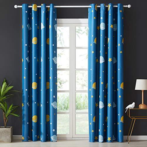 Topfinel Blickdichte Vorhänge mit Ösen Planet Mustern Lange Verdunkelungsvorhänge für Kinderzimmer Wohnzimmer Fenster 2er Set je 260x140cm (HxB) Blau