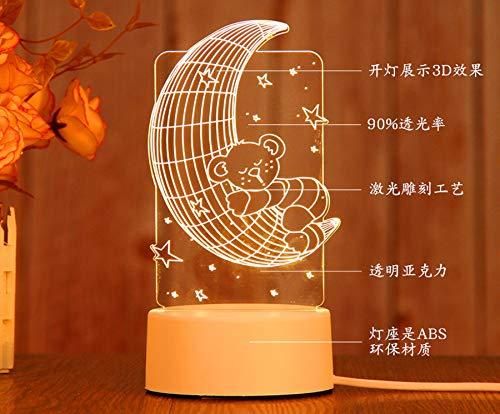 BaduKongjian Kleine - nachtlampe - 3D - tischlampe - kreatives - Mädchen - schlafzimmer - nachtisch - Kleine - tischlampe - Schüler - Kleines - Geschenk MoonBear