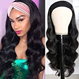Yifute Brazilian Body Wave Human Hair Wigs Easy Wear 150% density Non Lace Front Wigs Human Hair Headband Wigs for Black Women Natural Color (18inch, black)