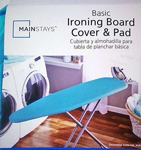 Mainstays Basic Ironing Board Cover and Pad (Fits Ironing Board Tops 15 in x 54 in) Blue Aqua Velvet