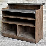 chemin_de_campagne Piano di lavoro bar stile antico legno zinco 125,50 cm