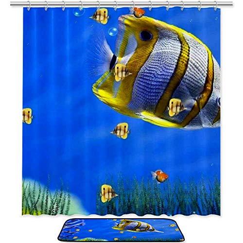 ASDFSD Ocaen - Cortinas decorativas de baño impermeables a prueba de moho, alfombrilla de baño, cortina de ducha: 152 x 183 cm, alfombrilla de 59,6 x 39,9 cm