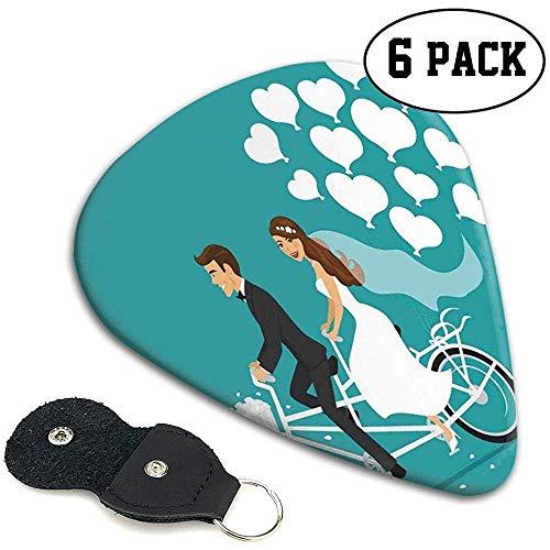 Púas de guitarra 6 piezas, hombre y mujer en una bicicleta tándem con globos de dibujos animados