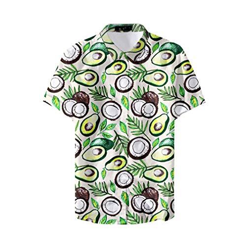 Fansu 3D Camisa Hawaiana para Hombre, Fiesta Tropical de Manga Corta Impreso Camisas de Trabajo Surf Funky Camisa Señores Playa