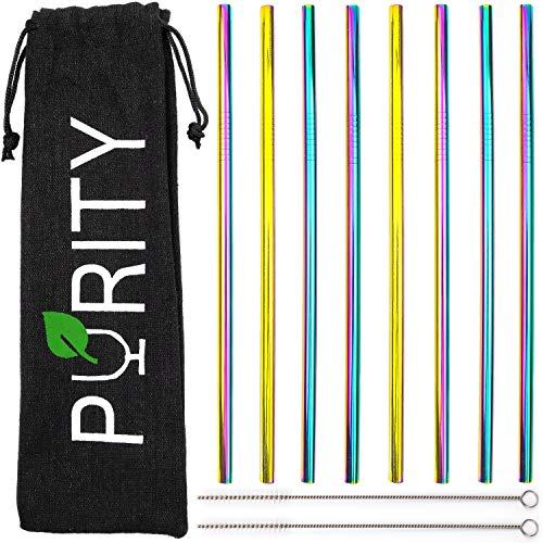 PURITY Edelstahl Strohhalme Regenbogenfarben - 8er Set bunte Metall Trinkhalme + 2 Reinigungsbürsten + Stoffbeutel - wiederverwendbar und spülmaschinenfest