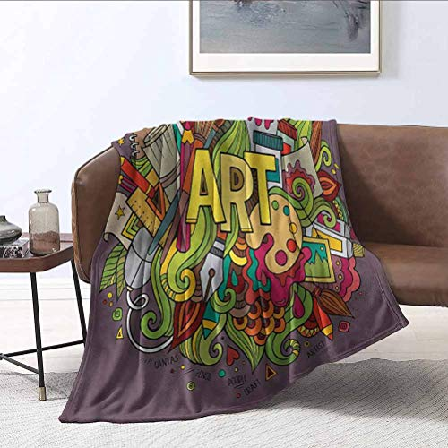 ParadiseDecor Art Baby Blanket Artist Equipment Brush Paints Microfiber Blankets for Bed Couch Chair Living Room 30x50 Inch