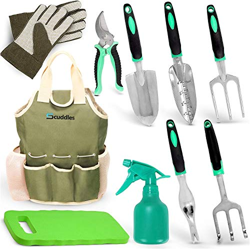 Scuddles Garden Tools Set - 7 Piece Heavy Duty Gardening Tools...