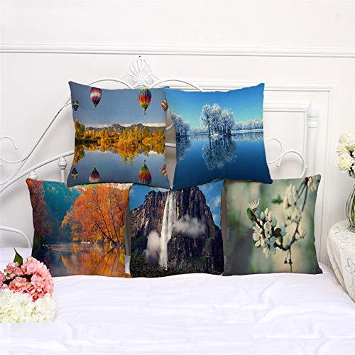 MBWLKJ Juego de 5 fundas de cojín decorativas de 45 x 45 cm, diseño de paisaje de algodón y lino
