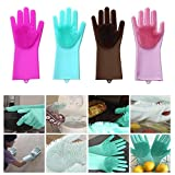 ZOQWEID Silicone Scrubbing Gloves, Non-Slip, Dishwashing and Pet Grooming, Magic Latex Gloves