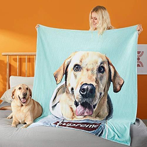Couverture personnalisée de portrait de chien Couvertures de jet personnalisées avec photos Amis à fourrure Sherpa Couverture en flanelle en molleton doux pour animaux de compagnie Cadeau d'amant de chien   Cadeau d'amant de chat   Dog Mom   Cat Lady   Cadeaux Mère 50