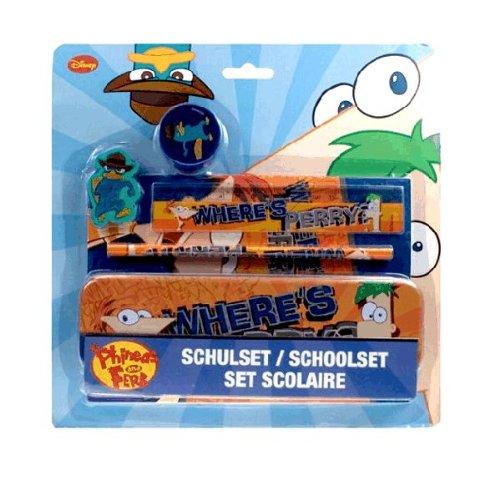 Phineas und Ferb - 5-teiliges Schulset mit Bleistiftbox