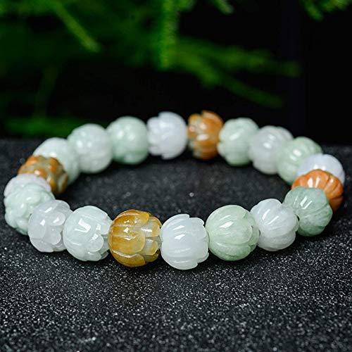 JIACUO Natürlich,Feng Shui Natürliches Jade Armband Carved Lotus Jade Unisex Armband Perlen Armreif Für Frauen anziehen Reichtum und Glück Starke Talisman