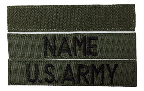2 piece OD Green Name & US ARMY, USAF, USMC, Tape set, with Fastener, Customized