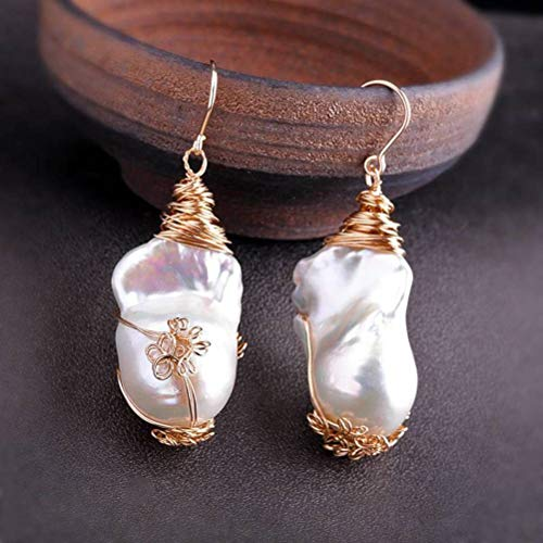 LOt Pendiente en Forma de Gota para Mujer S925 Joyas de Plata Esterlina Artículo Pendientes de Perlas de Moda Chapados en Oro de Plata Esterlinaperla