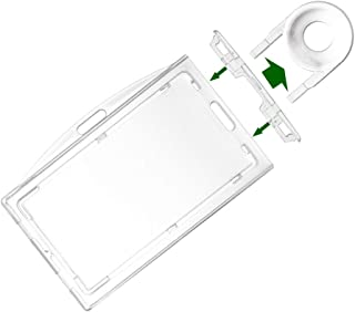 1 Pack Heavy Duty Hard Plastic Locking Id Badge Holder Horizontal and Vertical Dual-Use Hold 3 Card by Fallen One