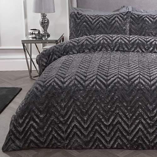 Sleepdown Juego de Funda de edredón de Franela de Lujo con Textura de Rayas geométricas de Piel sintética Gris carbón, súper Suave y fácil de cuidar, con Funda de Almohada, 135 cm x 200 cm, poliéster