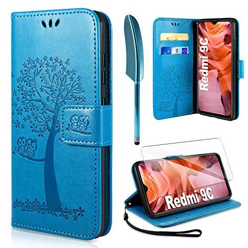 AROYI Handyhülle für Redmi 9C Hülle + Schutzfolie,Redmi 9C Klapphülle Hülle PU Leder Flip Wallet Schutzhülle für Redmi 9C Tasche (Blau)