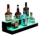 SUNCOO LED Lighted Liquor Bottle Display 16 Inch 2 Step Illuminated Bar Bottle Shelf 2 Tier Cimmercial Home Bar Bottle Display Drinks Lighting Shelves Home Bar Lighting with Remote Control