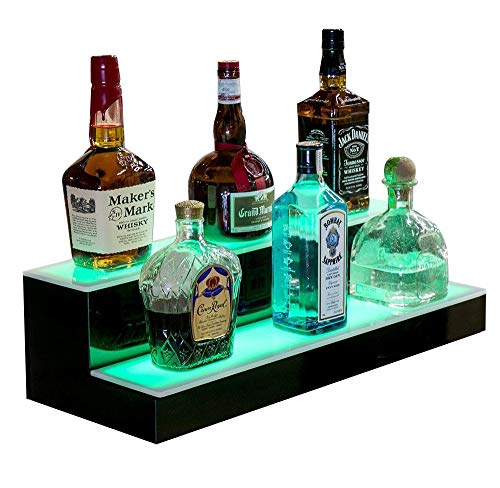 SUNCOO LED Lighted Liquor Bottle Display 16 Inch 2 Step Illuminated Bar Bottle Shelf 2 Tier Cimmercial Home Bar Bottle Display Drinks Lighting Shelves Home Bar Lighting with Remote Control