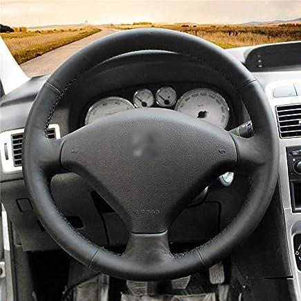 SCJ Cuero negro de microfibra Cubierta del volante del coche de gamuza negra para Peugeot 307