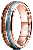 THREE KEYS JEWELRY KOA Wood Tungsten Carbide Mens Turquoise Antler Wooden 6mm Wedding Band Ring...