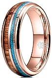 THREE KEYS JEWELRY KOA Wood Tungsten Carbide Mens Calaite Antler Wooden 6mm Wedding Band Ring Polish...