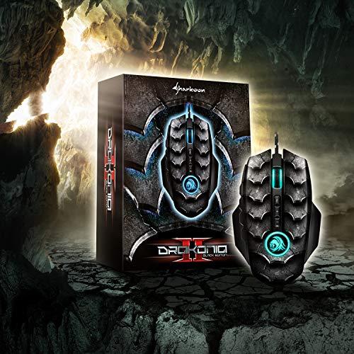 Sharkoon Drakonia II Gaming Maus, optischer Sensor PixArt 3360, 15.000 DPI, 12 programmierbare Tasten, schwarz - 10