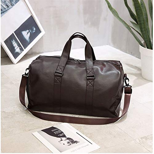 Gym Sports Duffle Bag Weekend Travel Large Capacity Men's Handbag Pu Leather Travel Tote Bag Portable and Durable (Color : Brown, Size : 44x33x17cm)